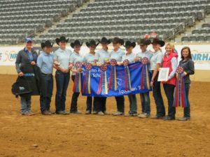 Upper School National Champion Team. Caroline Gute, Ellexxah Maxwell, Sophia Christy, Jessica Drown, Erika Lundquist, Anna Hollenack